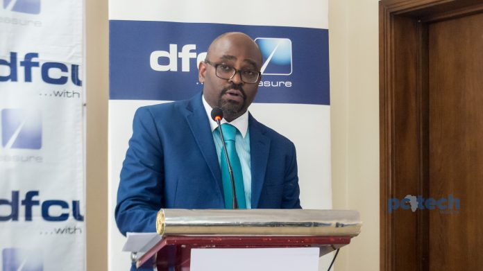 Denis Kibukamusoke; Head of Consumer Banking at DFCU bank Uganda speaking at the launch of the revamped omni-channel ebanking platform at the DFCU Bank Uganda head offices in Nakasero on Wednesday 16th, May 2018.