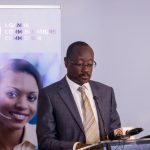 Gordon Kyomukama; Chief Technical Officer at MTN Uganda speaking at the launch of the pilot project for remote broadband connectivity in rural areas of Uganda on Friday 4th, May 2018.