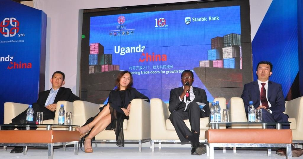 Mr James Karama Stanbic's Head Client coverage Oil & Gas (2nd Right) speaking on the development of Uganda's oil industry during a panel discussion at the China Uganda Forum hosted by Stanbic Bank at the Kampala Serena Hotel. He is joined (L-R) by Mr. Fan Bing, Standard Bank Group's Head of Client Coverage Asia, Ms. Guo YaQiong MD, Guangzhou Dongsong Energy and Mr. Sun Gang, Deputy Chief Executive Officer, ICBC African Representative Office.