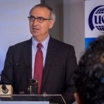 Intelsat CEO; Stephen Spengler speaking at the launch of the pilot project for remote broadband connectivity in rural areas of Uganda on Friday 4th, May 2018.