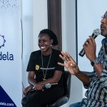 Andela Uganda's Community Manager Technical Talent; Maria Kyamulabye (Left) with Michael Niyitegeka, ICDL's Africa Country Manager for Uganda, speaking at the inaugural Andela Uganda Developer Conference, at their head offices in Bukoto on Saturday 28th, July 2018.