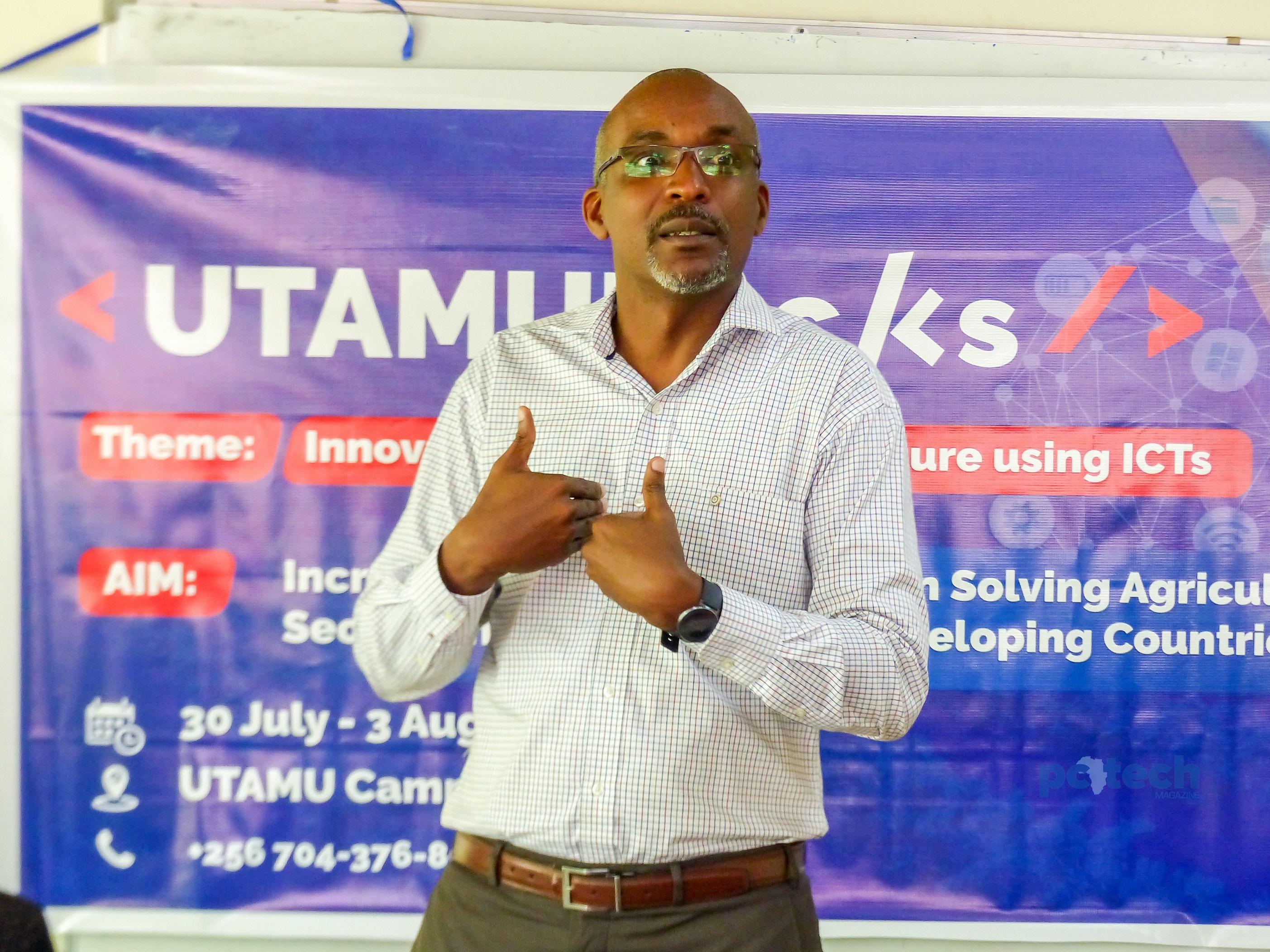 Prof. Jude Lubega briefs media about the UTAMU Agriculture Hackathon at the UTAMU head campus in Bugolobi on Monday 30th, July 2018.