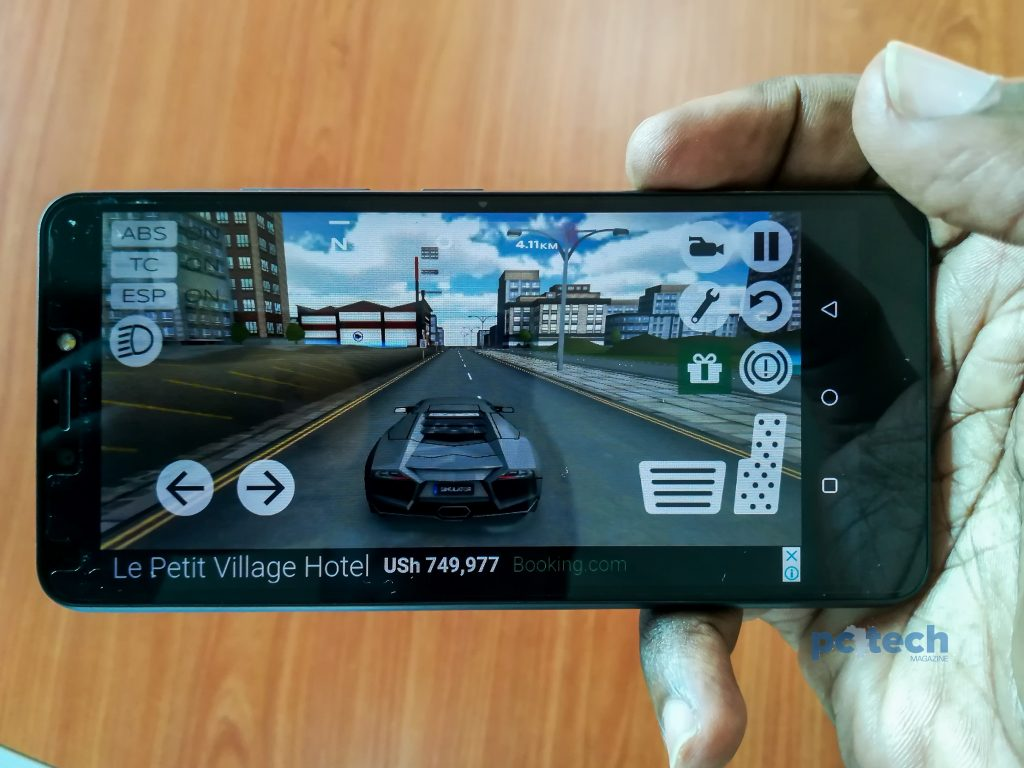Playing extreme car drive on the itel P32.