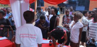 Makerere University students registering for Huawei's Global ICT Skills Competition.