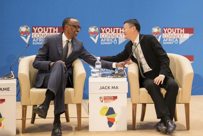 H.E President of Rwanda; Paul Kagame (Left) shares a moment with Alibaba Group Executive Chairman; Jack Ma (Right) at the first annual Youth Connekt Summit in Kigali, Rwanda at the Kigali Convention Centre. (Photo Courtesy: Youth Connekt Flickr page)