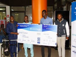 SudPay SA on 7th September, 2018 received their dummy air ticket after the team won the Seedstar Dakar (Senegal) pitch competition and will be representing Senegal at the Seedstar global summit in Switzerland next year. (Photo courtesy)