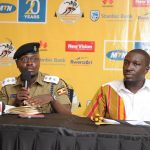 Luke Owoyesigire; Kampala Metropolitan Police Spokesman, speaks to media during the unveiling of elite runners for the 2018 MTN Kampala Marathon on Friday 23rd, November 2018 at the MTN Uganda offices in Nyonyi Gardens.