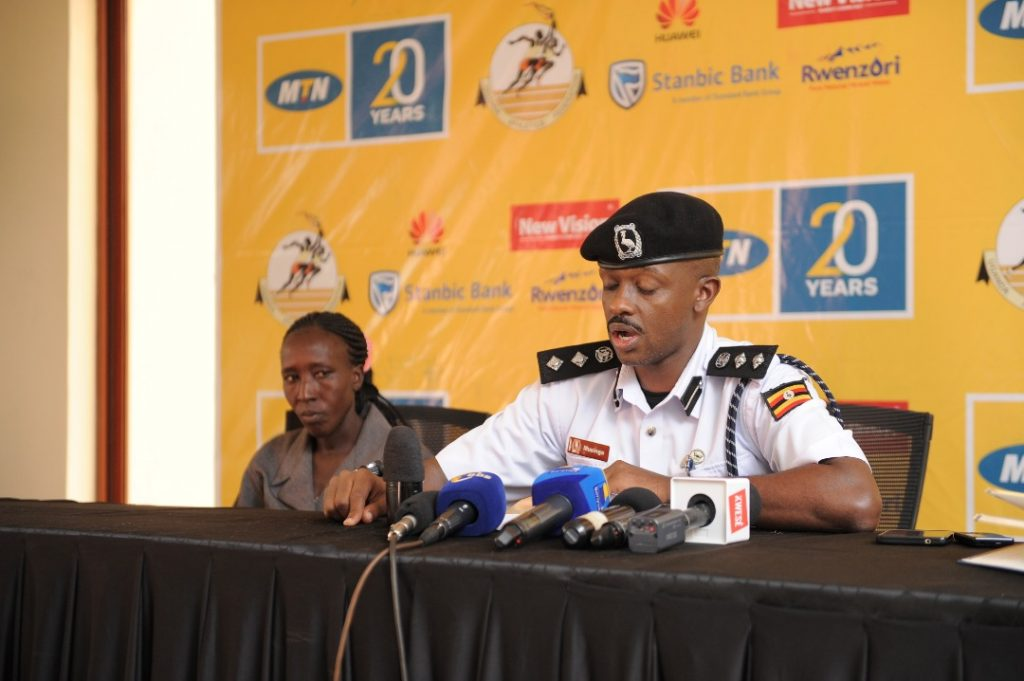 Kampala Metropolitan Traffic Police Commander; SSP Norman Masinga speaks to media during the unveiling of elite runners for the 2018 MTN Kampala Marathon on Friday 23rd, November 2018 at the MTN Uganda offices in Nyonyi Gardens.