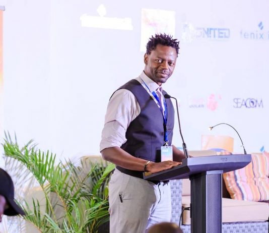 Hive Colab Co-Founder; Teddy 'TMS' Ruge speaking at the 2nd annual Swarm Summit at The Square Palace. (Photo Courtesy: Hive Colab)