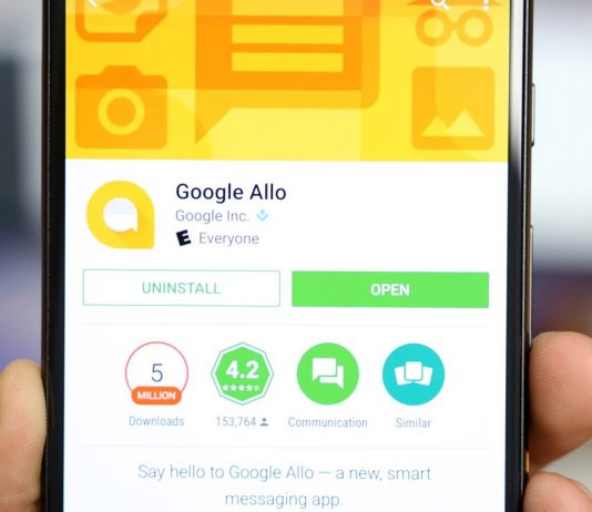 Pictured a user browsing through the Google Allo app for Android on Google Play Store. (Photo Credit: 9to5google)