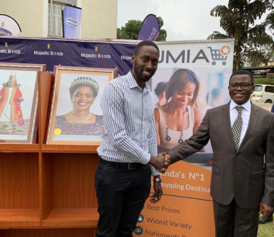 Jumia CEO; Ron Kawamara (left) with Buganda Prime Minister; Charles Peter Mayiga (R) shake hands after announcing their partnership to sale Buganda Kingdom merchandise on the Jumia Platform. This was at press brief in Bulange, Mengo on Wednesday 5th, Dec. 2018.
