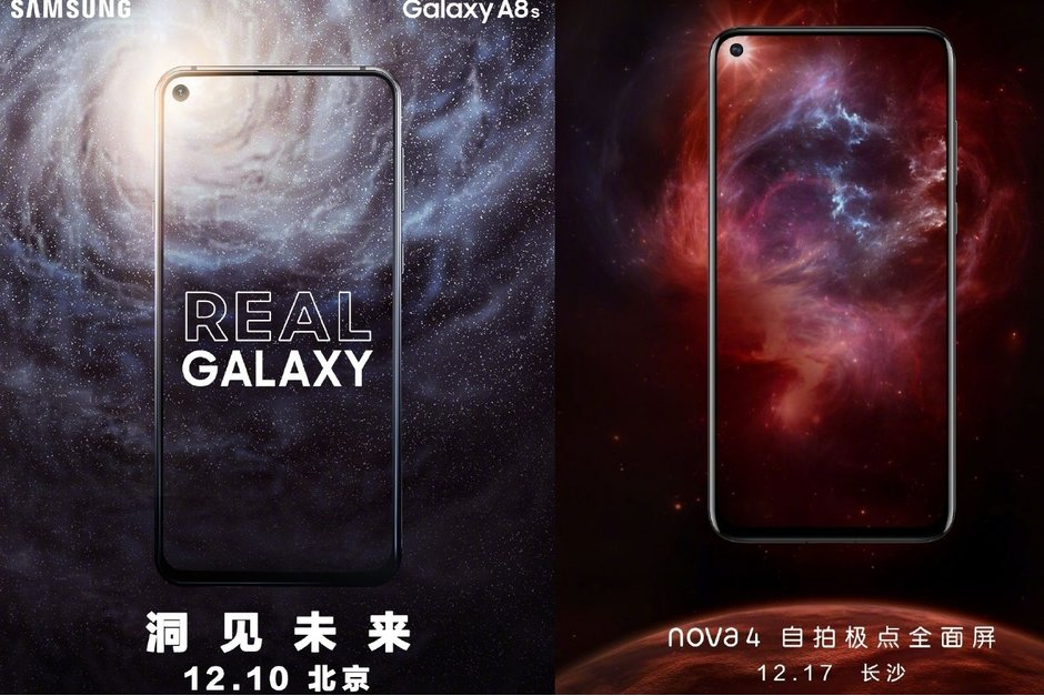 Samsung Galaxy A8s (Left) launches on Dec. 10 while Huawei Nova 4 (right) launches Dec. 17. (Image Courtesy: phonearena)