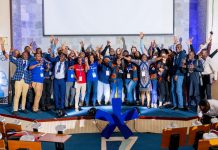 18 regional winners of Seedstar World Africa tour pose for a group photos at the Seedstars Africa Summit 2018 conference in Dar es Salaam, Tanzania on Thursday 13th, December 2018.