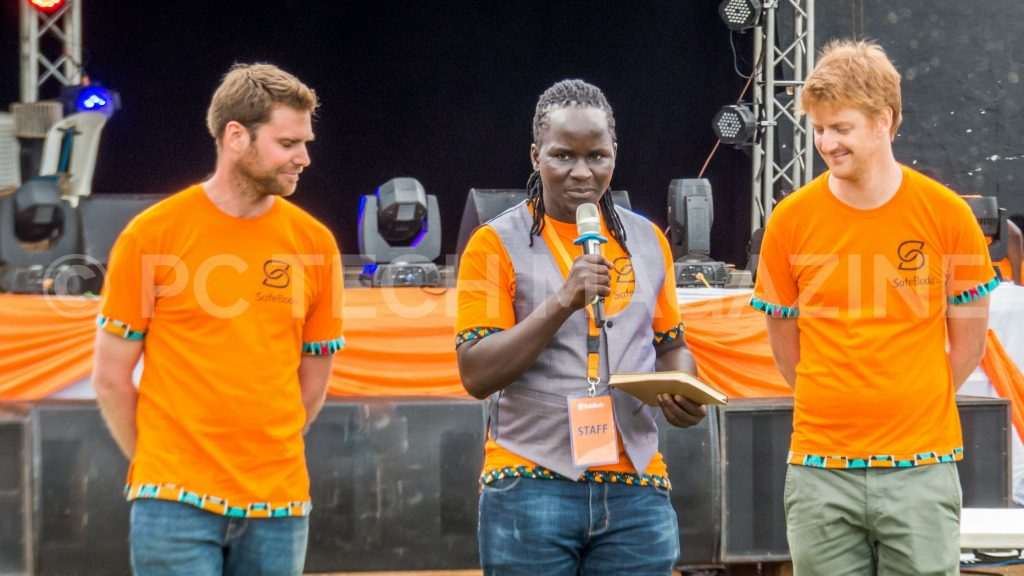 (L - R): Maxime Dieudonne, Rapa Thomson Ricky, and Alastair Sussock are the co-founders of Safeboda. Pictured at the Safeboda bi-annual party at the Lugogo Cricket Oval in Kampala on Sunday 27th, January 2018.