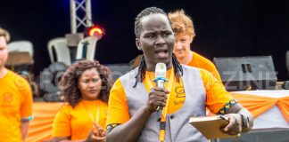 Rapa Thomson Ricky, Co-Founder of Safeboda speaking at their bi-annual party at the Lugogo Cricket Oval in Kampala on Sunday 27th, January 2018.