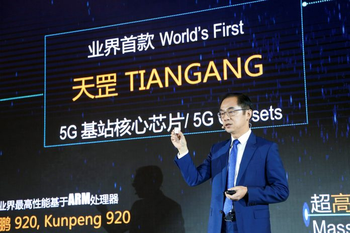 Ryan Ding, Huawei Executive Director of the Board, delivering a keynote speech during the launching their 5G base station core chip.
