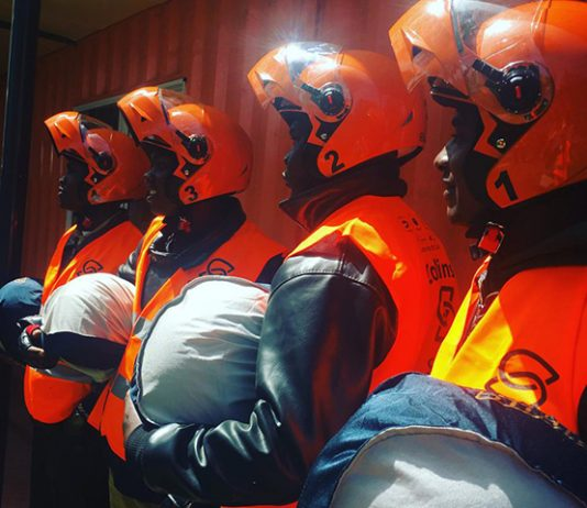 The first four safeboda Kenya riders pictured after completion of their training in Nairobi. (Photo Courtesy: Safeboda)