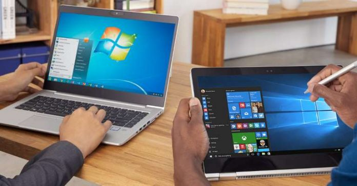 Two users, one the left pictured using Windows 7 and the other on the right using Windows 10 on a laptop and tablet respectively. (Photo Courtesy: Microsoft)