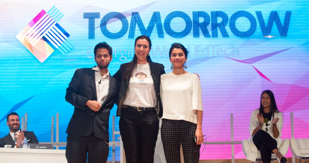 (From L - R): Dot Learn, CEO Sam Bhattacharyya, TeachMeNow Managing Director, Thea Myhrvold and Chatterbox CEO Mursal Hedayat pose for a group photo after winning the 2018 Next Billion EdTech Prize at the Global Education and Skills Forum in Dubai | Courtesy Photo.
