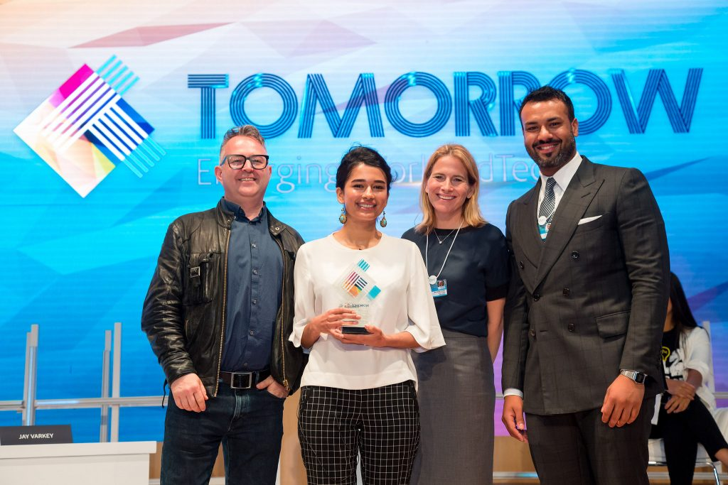 Chatterbox CEO Mursal Hedayat accepts the 2018 Next Billion EdTech Prize at the Global Education and Skills Forum in Dubai | Courtesy Photo.