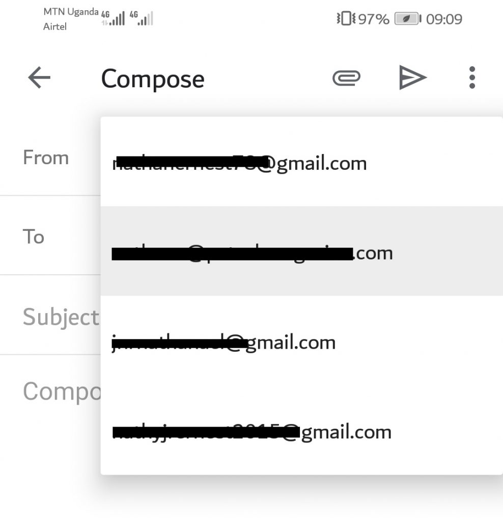 In new Gmail Android app update you can switch through accounts when composing a new mail