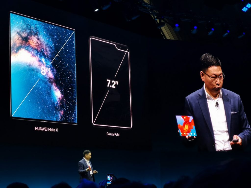 Huawei Mate X unfolds to an 8-Inch display compared to the Galaxy Fold which opens up to 7.2-Inch   Photo by : PC TECH MAGAZINE/Olupot Nathan Ernest.