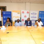 MTN Marathon partners briefing the media at a press conference held at Stanbic Uganda HQ at Crested Towers in Kampala on Thursday 14th, February 2018. The 2018 proceddings while be used towards improving Maternal Health Care in Uganda to ensure safe childbirth, for expectant mothers.