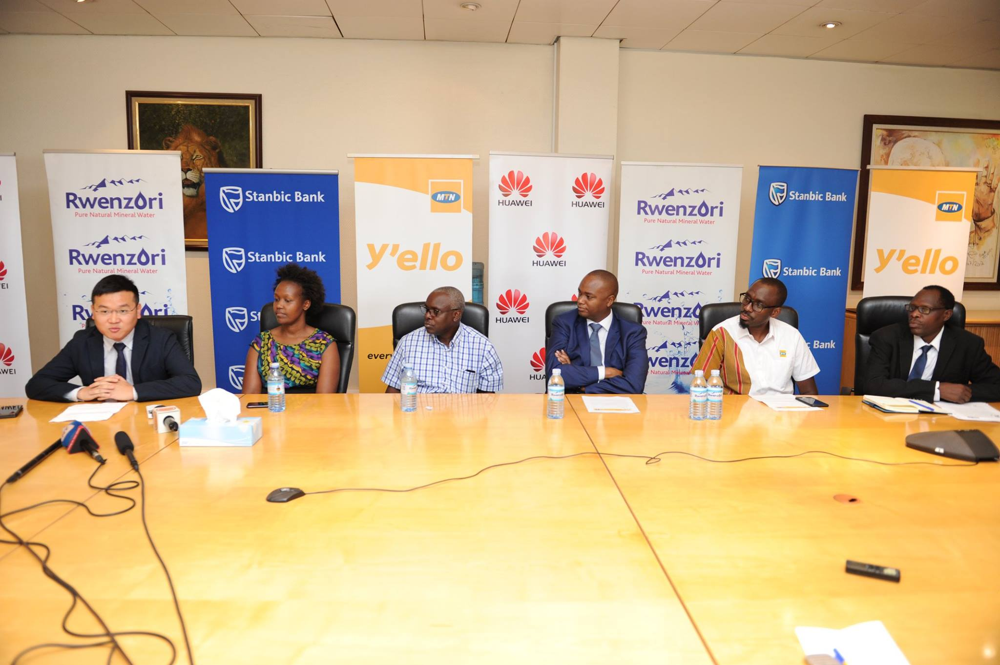 MTN Marathon partners briefing the media at a press conference held at Stanbic Uganda HQ at Crested Towers in Kampala on Thursday 14th, February 2018 - how the 2018 proceedings while be used towards improving Maternal Health Care in Uganda to ensure safe childbirth, for expectant mothers.