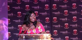 Melissa Bime (Cameroon), Founder of INFIUSS, giving her acceptance speech after she won the USD$25,000 Grand Prize at the 8th annual Anzisha Prize awards gala | Courtesy Photos/File Photo.