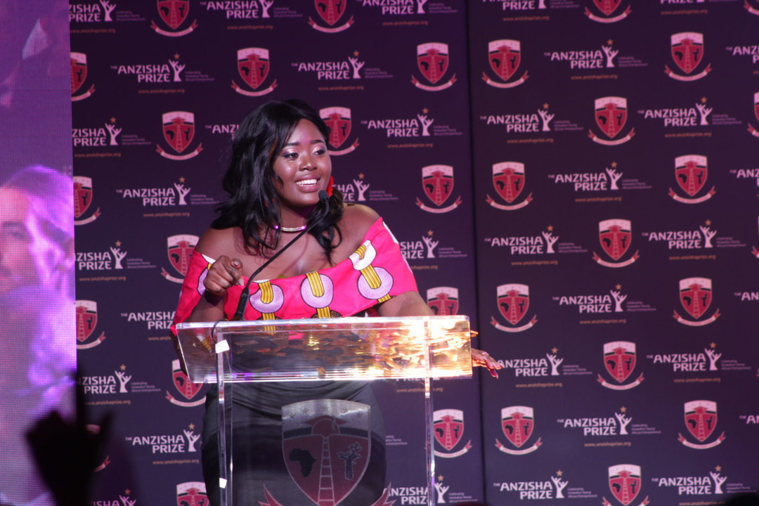 Melissa Bime (Cameroon), Founder of INFIUSS, giving her acceptance speech after she won the USD$25,000 Grand Prize at the 8th annual Anzisha Prize awards gala   Courtesy Photos/File Photo.