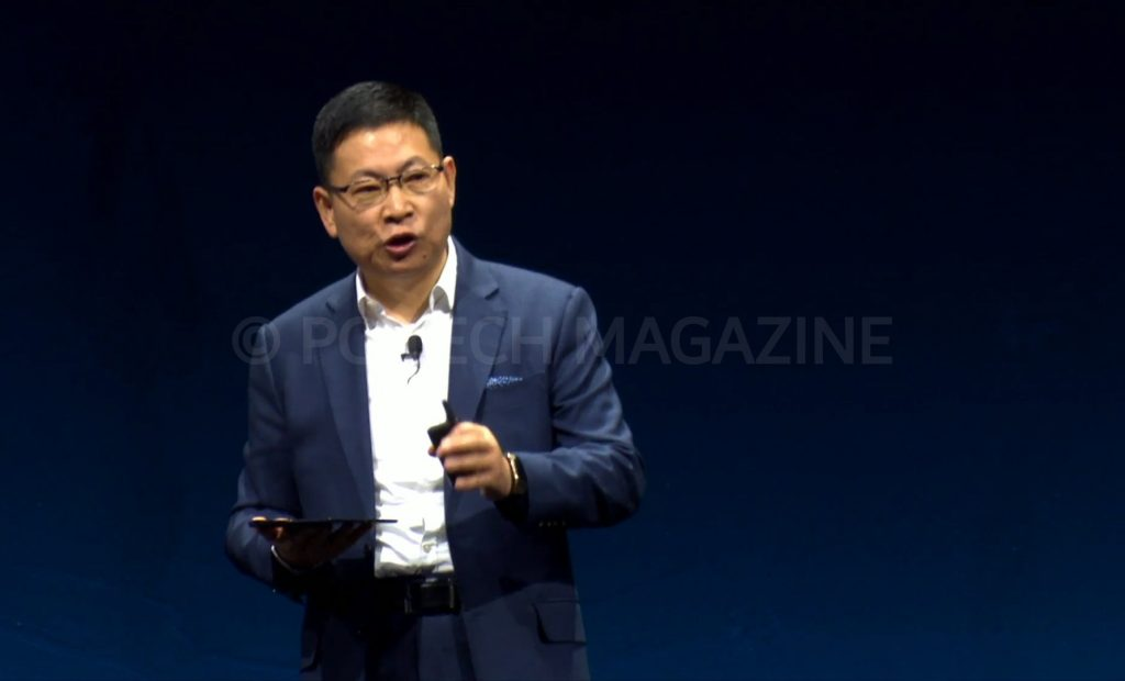 Huawei's Consumer CEO, Richard Yu presenting the Huawei Mate X, Huawei's first foldable phone at the Mobile World Congress in Barcelona on Sunday 24th, February 2019   Photo by : PC TECH MAGAZINE/Olupot Nathan Ernest.