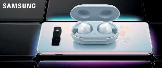 The Samsung Galaxy Buds are seen placed on top of a Samsung phone believed to be one of the Galaxy 10. | Photo Courtesy/File Photo