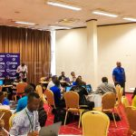 Representatives from Andela Uganda briefing the 35 participants during the IDI-Andela Health Hackathon at the Health Innovation Conference on Tuesday 19th, March 2019 | Photo by PC Tech Magazine/Olupot Nathan Ernest.
