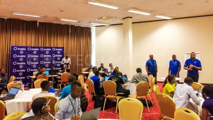 Representatives from Andela Uganda briefing the 35 participants during the IDI-Andela Health Hackathon at the Health Innovation Conference on Tuesday 19th, March 2019   Photo by PC Tech Magazine/Olupot Nathan Ernest.