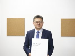 Fang Liangzhou, Vice President of Huawei Network Energy Product Line, shows off the released the 5G Energy White Paper at MWC 2019 in Barcelona   Courtesy Photo.