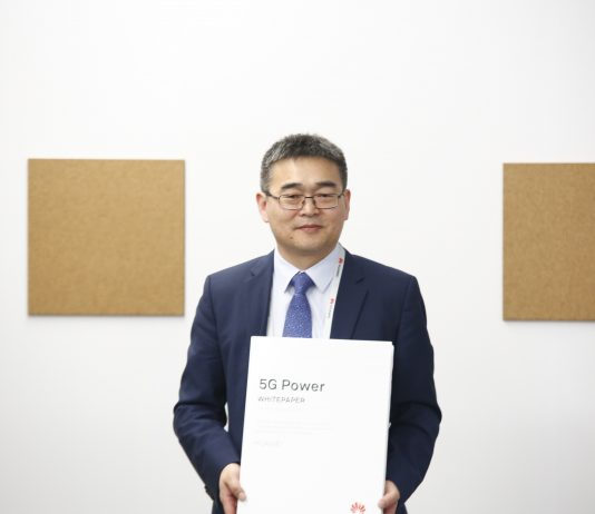 Fang Liangzhou, Vice President of Huawei Network Energy Product Line, shows off the released the 5G Energy White Paper at MWC 2019 in Barcelona | Courtesy Photo.
