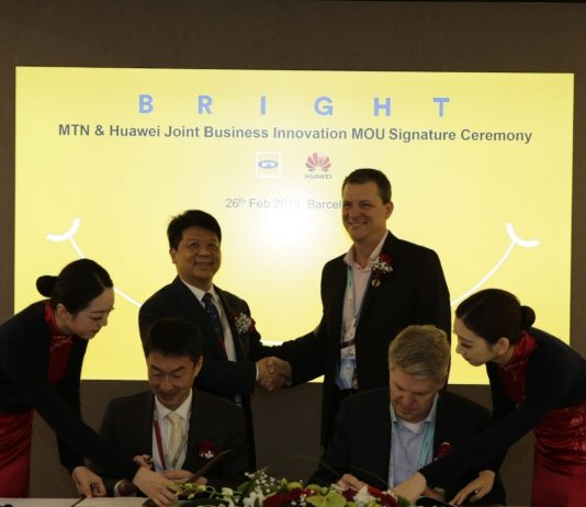 Huawei and MTN Group representatives signing a a Joint Business Innovation MoU at the Mobile World Congress 2019 in Barcelona.