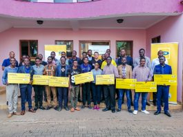 Winners of the 2018 MTN API App Challenge pose for a group photo after receiving their cash prize at the MTN Uganda offices in Nyonyi Gardens, Kampala on Friday March, 29th 2019 | Photo By PC TECH MAGAZINE/Olupot Nathan Ernest.
