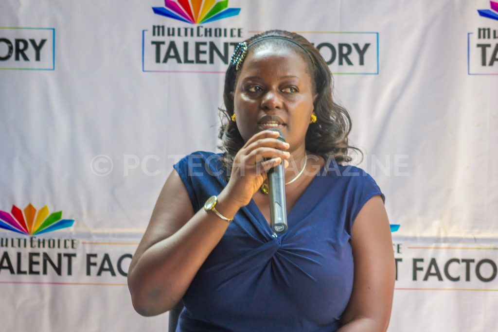 Renowned multi-award winning film pioneer, Mariam Ndagire speaking at the launch of the MultiChoice Talent Factory portal at the MultiChoice Uganda head offices in Kololo, Kampala | Photo by PC Tech Magazine/Olupot Nathan Ernest.