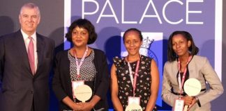 In Pictorial (L to R): HRH The Duke of York poses for a group photo with the Pitch@Palace Africa winners, Muzalema Mwanza, Chelmis Thiong, and Anne Rweyora | Courtesy Photo.