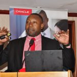 James Byaruhanga, the Raxio Data Centre General Manager speaks at the first Oracle-Raxio executive roundtable to address how enterprises can manage operational costs by leveraging cloud technologies at Serena Kampala Hotel, on March 6th 2019.