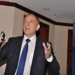 Joachim Steuerwald, the Oracle Cloud Platform Sales Director addresses business eladers about the benefits of Oracle's cloud services at the first Oracle-Raxio executive roundtable event at Serena Kampala Hotel, on March 6th 2019.