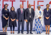 In Pictorial (L-R): Ifeyinwa Ugochukwu; incoming CEO at Tony Elumelu Foundation, Parminder Vir; CEO at Tony Elumelu Foundation, Ambassador Shimon Ben-Shoshan; Ambassador of Israel to Nigeria, Tony Elumelu; Founder of Tony Elumelu Foundation, H.E Mrs. Aisha Buhari; Wife to the President of Nigeria, Dr. Awele Elumelu; Trustee at Tony Elumelu Foundation pose for a group photo at the Selection and Unveiling of the 5th Cohort of the TEF Entrepreneurship Programme held at the Transcorp Hilton Hotel, Abuja on Friday 22nd, March 2019 | Courtesy Photo.