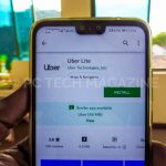 A user displays a uber lite app installation in google play store | Photo by PC TECH MAGAZINE/Olupot Nathan Ernest.