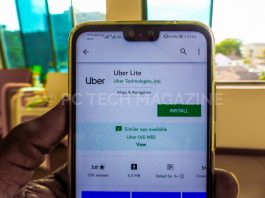 A user displays a uber lite app installation in google play store   Photo by PC TECH MAGAZINE/Olupot Nathan Ernest.