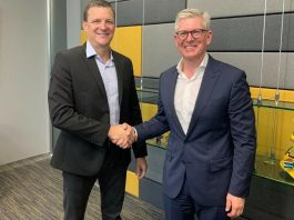 Rob Shuter, CEO and President of MTN Group (R) with Borje Ekholm, President and CEO of Ericsson (L) shake hands at the Mobile World Congress 2019 in Barcelona   Courtesy Photo.