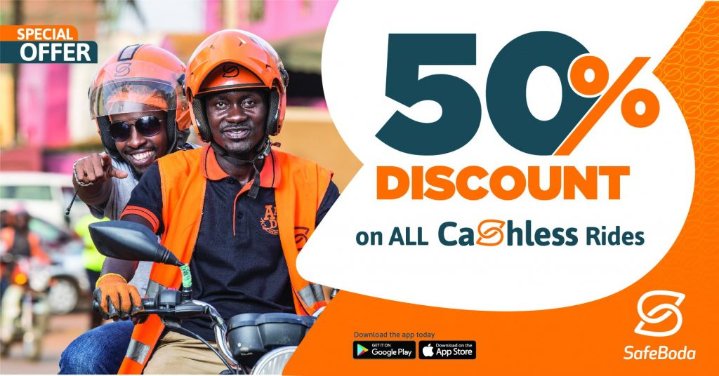 Safeboda Uganda launches a 50% discount offer for its passengers paying cashless for their riders. Offer to last till end of this month | File Image/Safeboda Uganda.