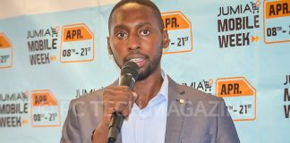 Jumia CEO; Mr. Ron Kawamara speaking to press during the launch of 2019 mobile week and unveil of the mobile report at the City Blue Hotel on Tuesday April, 2nd 2019 | Photo by PC TECH MAGAZINE/Olupot Nathan Ernest.