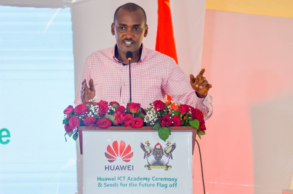 Minister of ICT and National Guidance; Hon. Frank Tumwebaze speaking at the flag off of the seed for future winners to China at Makerere University on Tuesday 14th, May 2019. Photo by : Humphrey Mpairwe/TECH POINT MAGAZINE