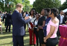 The Duke of Sussex and Commonwealth Youth Ambassador; Prince Harry speaking with some of the winners of the Commonwealth Secretary-General's Innovation for Sustainable Development Awards in London. File Photo/Commonwealth